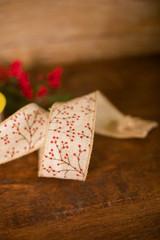 "2.5"" x 10 Yard Red Berries on Beige Ribbon"