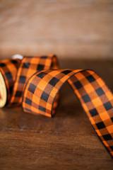 "2.5"" x 10 Yard Orange/Black Checkered Ribbon"