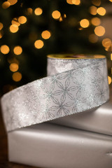 "2.5"" x 10 Yard Silver Snowflakes on White Ribbon"