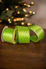 "2.5"" x 10 Yard Silver/Green Wavy Stripes on Green Ribbon"