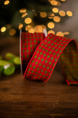 """2.5"""" Green Pattern on Red Ribbon"""