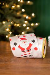 """5"""" x 10 Yard Santa on White Ribbon with Red Polka Dots"""