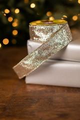 "1.5"" x 10 Yard Gold Glitter Ribbon"