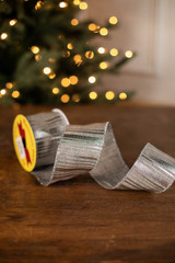 "2.5"" x 10 Yard Silver Striped Ribbon"