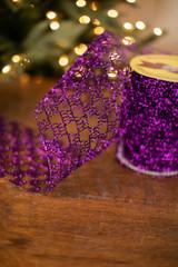 "6"" Dark Purple Y Shape Wire Glitter Garland Ribbon"