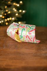 """4"""" x 10 Yard Candy Canes and Snowflakes on White Ribbon"""