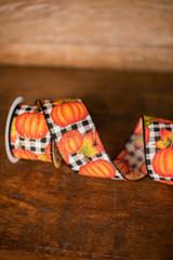 "2.5"" x 10 Yard Pumpkins on Black and White Checkered Ribbon"