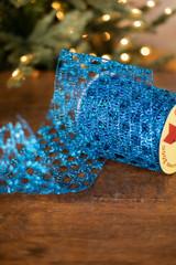 "6"" Dark Turquoise Y Shape Wire Glitter Garland Ribbon"