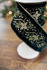 """4"""" x 5 Yard Embroidered Floral Jewels Gold Back Ribbon"""