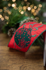 """4"""" x 5 Yard Embroidered Ornament with Streamers Ribbon - Red/Green"""