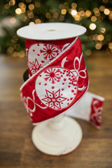 """4"""" x 5 Yard Embroidered Ornament with Streamers Ribbon - Red/White"""