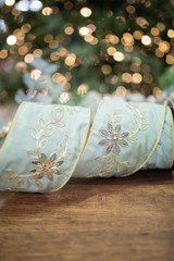 """4"""" x 5 Yard Embroidered Floral Garland Gold Back Ribbon"""