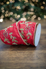 """4"""" x 5 Yard Embroidered Floral Garland Gold Back Ribbon - Red/Gold"""