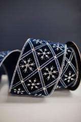 "4"" x 5 Yard Velvet Diamond Snowflake/Jewel Ribbon - Midnight Blue"