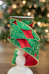 """4"""" x 5 Yard Embroidered Ornament Overlay Ribbon"""