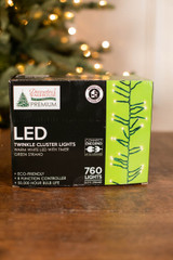 Twinkle Cluster Lights, Warm White 760 LED Lights with Timer - 24.9ft Green Strand