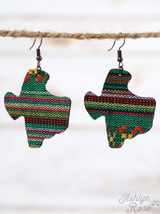 Serape Texas Shaped Earrings - Green