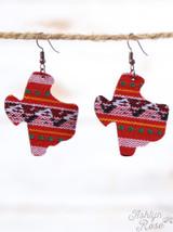 Ashlyn Rose Serape Texas Shaped Earrings - Red Giftables