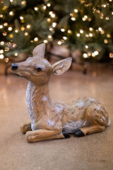 """13"""" Resin Outdoor Laying Fawn Deer"""