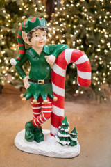 """36"""" Resin Elf Leaning on Candy Cane"""