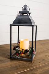 """16"""" B/O Lighted Lantern W/ LED Candle & Timer"""