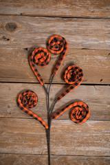 Orange & Black Fabric Plaid Curly Fall Spray-1