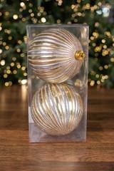 15 CM Gold and Silver Stripe Merc Ball Ornament