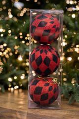 100MM Red/Black Glitter Harlequin Ball Ornament, Set of 3