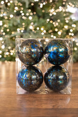 10 CM Navy & Platinum Shatterproof Mercury Ball Ornament, 4 Pc/Bx