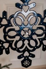 "18"" Navy Blue Metallic Finish Snowflake Christmas Ornament"
