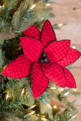 """24"""" Red/Black Buffalo Check Velvet Poinsettia Christmas Flower"""