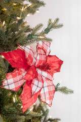 """24"""" Velvet/Plaid Poinsettia Stem Christmas Flower"""
