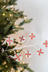 """26"""" Frosted Peppermint Candy Christmas Tree Spray"""