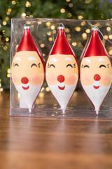 "7"" Santa Face Finial Ornament Acetate , Box of 3"