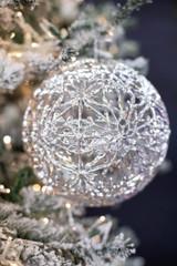 20 CM Silver Cutout Snowflake Ball Christmas Ornament