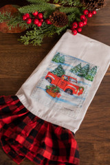 Red Truck Buffalo Plaid Ruffle Tea Towel