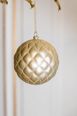 10 CM Champagne Matte Glitter Quilted Net Ball Ornament