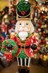 """48"""" Nutcracker on Merry Christmas Base with Striped Pants"""