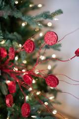 """33"""" Glitter Silver Dollar/Twig Christmas Spray Red"""