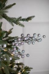 "28"" Glitter Ball Berry Christmas Spray Silver"