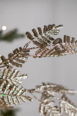 """35"""" Glitter Lacy Fern Leaf Christmas Spray Champagne"""
