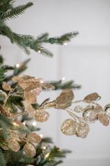 """30"""" Glitter Lunaria Leaf Spray Champagne"""