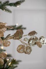 """30"""" Gold Glitter Lunaria Leaf Christmas Spray"""