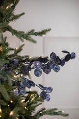 """30"""" Glitter Lunaria Leaf Christmas Spray Midnight Blue"""