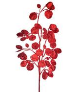 "30"" Glitter Lunaria Leaf Christmas Tree Spray Red"