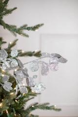 """30"""" Glitter Lunaria Leaf Christmas Tree Spray Silver"""