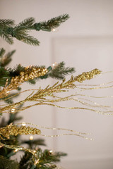 "30"" Gold Glitter Berry Spike/Twig Christmas Spray"