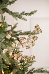 "29"" Glitter Mini Lotus Christmas Tree Spray Champagne"