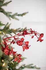 "29"" Red  Glitter Mini Lotus Christmas Spray"