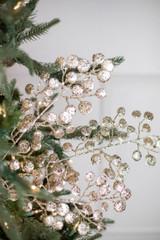 "29"" Glitter Mini Disc Christmas Tree Spray Champagne"